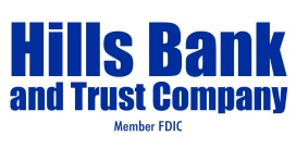 Hills Bank member fdic logo - blue